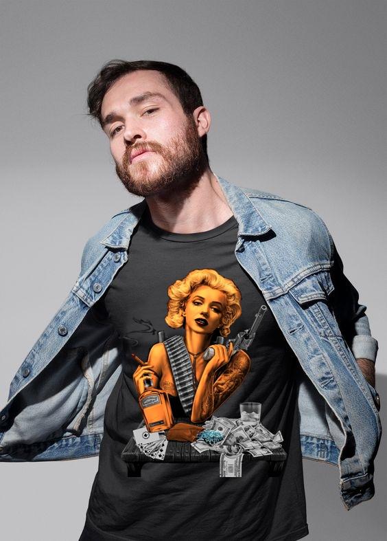 Тениска с принт Pistol and Poker