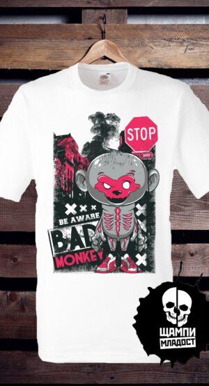Тениска с принт Be Aware Bad Moneky