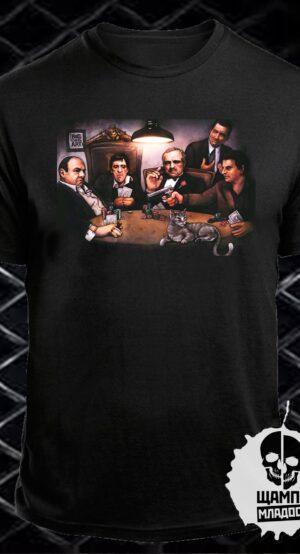 Тениска с принт Gangsters playing poker