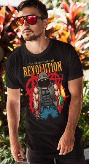 Tениска с принт Get Ready for the Revolution