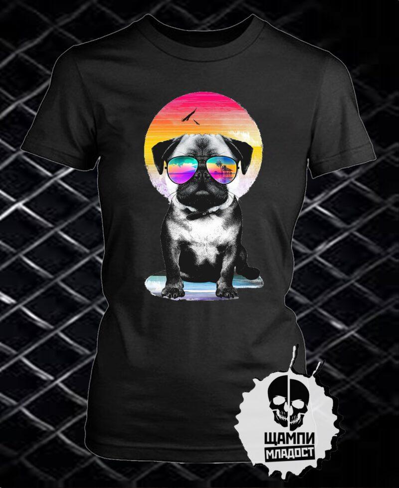 Тениска с принт Dog Beach